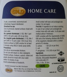 GNLD Care ingredients and usage label