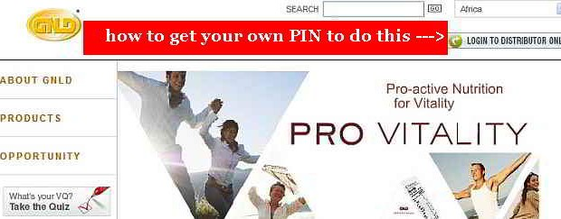 how to get your own GNLD PIN and use it to access the Distributor-only section of GNLD's website