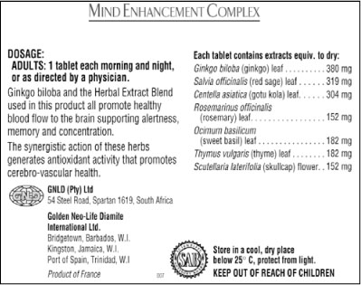 GNLD Mind Enhancement package label with dosage instructions