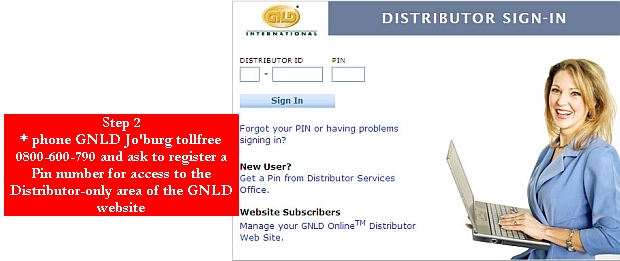 register your Pin with GNLD in Jo'burg